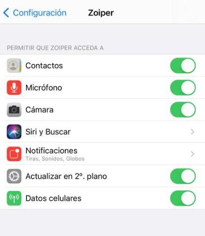 Softphone zoiper en IOS segundo plano
