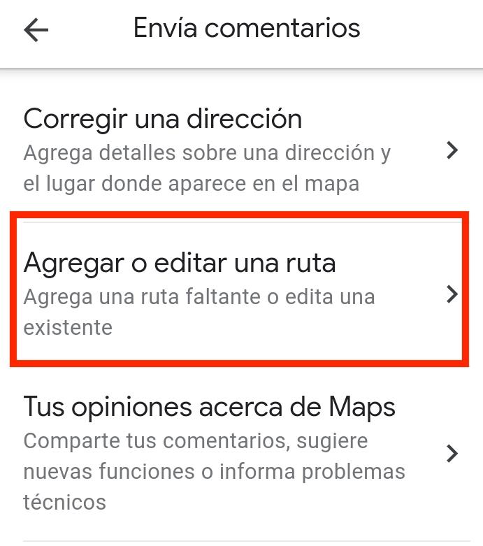 Agregar o editar ruta para nueva calle en google maps